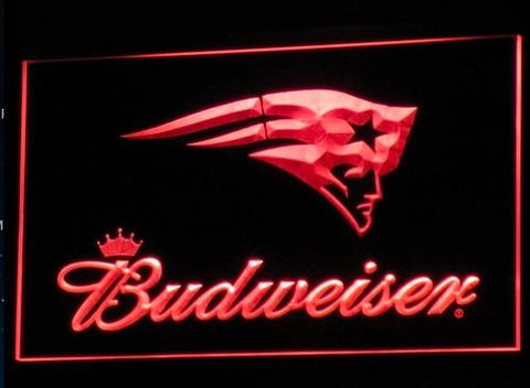 New England Patriots Budweiser Neon Sign (Light. B298-b. LED)