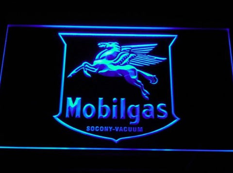 Mobil Gas Rd Porcelain Pump Neon Sign (D107-r. Light. LED)