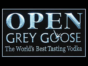 Grey Goose Vodka Open Neon Sign (Bar. Drink. LED. Light)