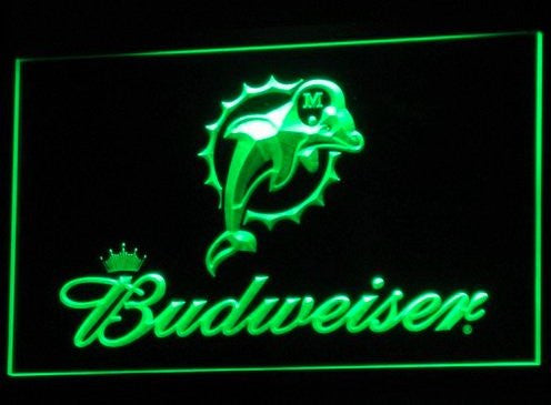 Miami Dolphins Budweiser Neon Sign (B297-b. Light. Bar. LED)