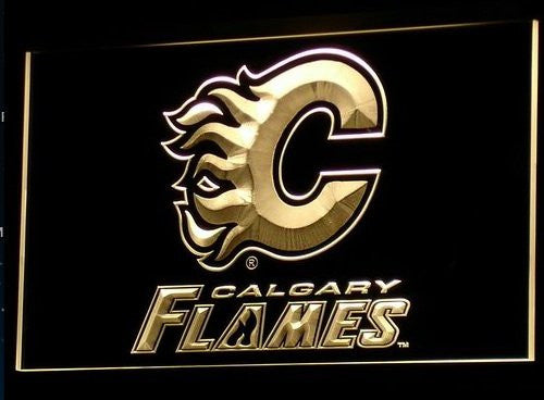 Calgary Flames Neon Sign (B080-r. Light. Beer Bar. LED. NHL)
