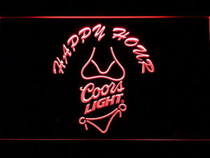 Coors Light. Bikini. Happy Hour Neon Sign (Man Cave. 626 R. Beer. LED. Light)