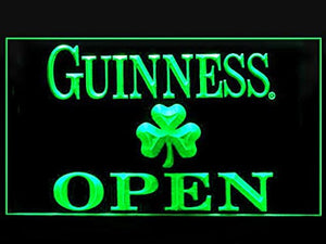 Guinness OPEN Neon Sign (P807G. Shamrock. Light. Hub. Bar. Advertising. LED)