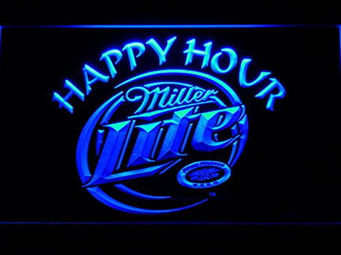 Miller Lite Happy Hour Neon Sign (Light. Beer Bar. LED. Man Cave. 605 B)