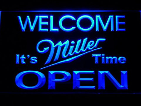 Welcome It's Miller Time OPEN Neon Sign (Beer. Light. Man Cave. LED. 070-B)