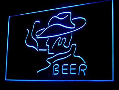 Western Smoking Cowboy Beer LED Sign Neon Light Bar Sign Display