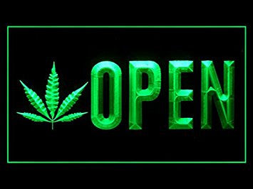 Open Marijuana Hemp Leaf High Life Display Led Light Sign