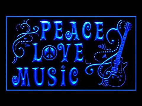Peace Love Music Guitar Led Light Sign