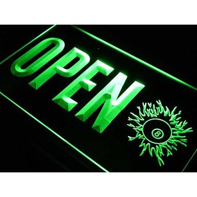 BuW OPEN 8 Balls Pool Billiard Room Neon Light Sign. led lights for home pret...