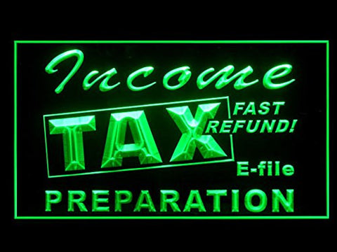 Income Tax Preparation Office Fast Services Led Light Sign