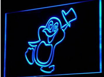 Penguin Cartoon Animals Display Neon Light Sign