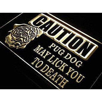 BuW Caution Pug Dog Lick Pet Shop Neon Light Sign. lighting direct cool night...