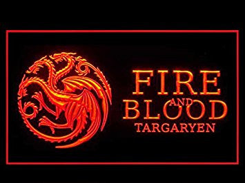 Game of Thrones House Targaryen Fire And Blood Led Light Sign (Red)