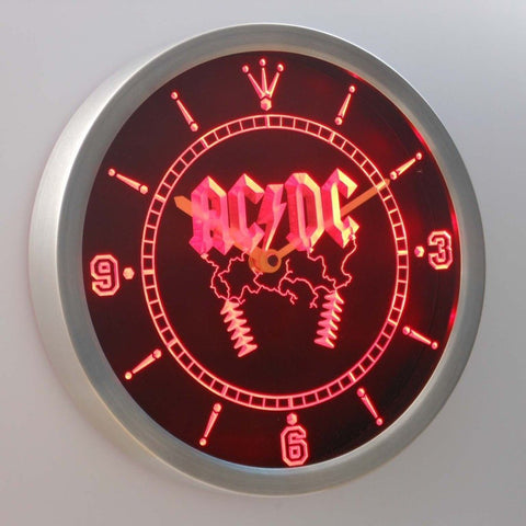 ACDC AC/DC Rock n Roll 3D Neon Sign LED Wall Clock NC0142-R