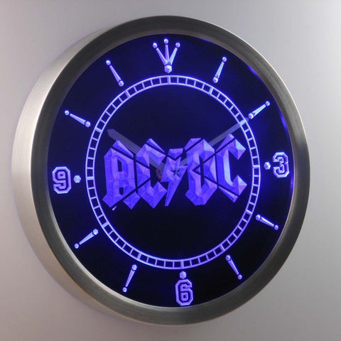 ACDC AC/DC Band Music Bar 3D Neon Sign LED Wall Clock NC0148-B