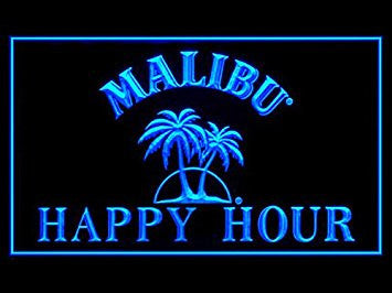 Malibu Happy Hour Neon Sign (Rum. Drink. LED. Light)
