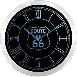 Route US 66 Neon Sign LED Wall Clock