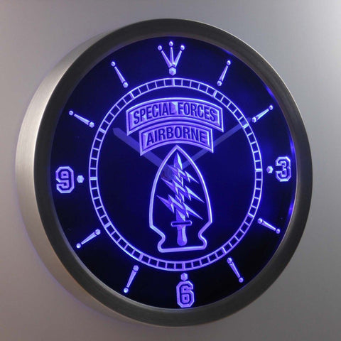 US Army Special Forces Air Borne 3D Neon Sign LED Wall Clock NC0212-B