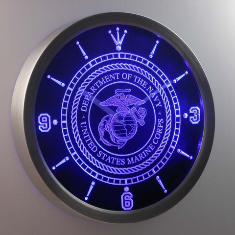 US Marine Corp Military 3D Neon Sign LED Wall Clock NC0210-B