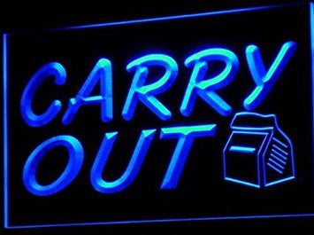 Carry Out Take Away Cafe Bar Pub Neon Light Sign