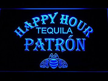 Patron Tequila Happy Hour Neon Sign (Light. Man Cave. 633-B. Bar. LED)