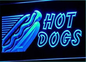 Open Hot Dogs Cafe Shop Neon Light Sign