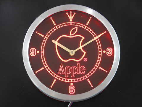 Apple Computers Logo Beer Bar Neon Sign LED Wall Clock