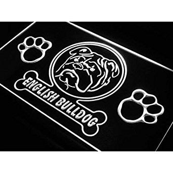 BuW English Bulldog Paw Print Dog Neon Light Sign. lighting direct star night...