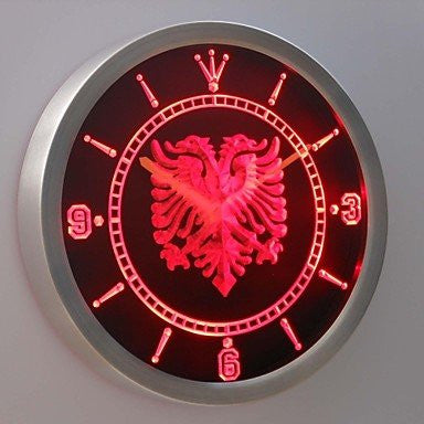 Albanian Eagle Bar Pub Neon Sign LED Wall Clock Green