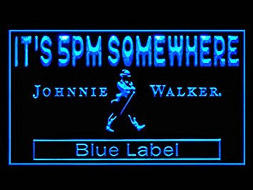 Johnnie Walker Whisky Blue Label It's 5 PM Somewhere Neon Sign (Drink. LED. Light)