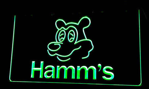 NL059 Hamm's Beer Bear Head Bar NEW Neon Light Signs (green)
