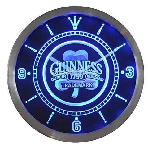 Guinness 1759 Shamrock Bar Beer Neon Sign LED Wall Clock