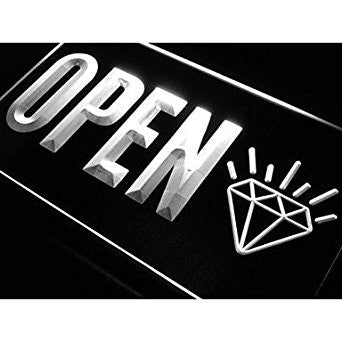 BuW OPEN Diamond Jewelry Shop Lure Neon Light Sign. led lights for home prett...