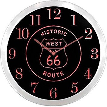 Route 66 West Historic Neon Sign LED Wall Clock