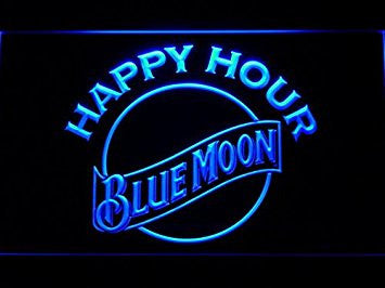 Blue Moon Happy Hour Neon Sign (Light. Beer. Bar. LED. Man Cave. 628-B)