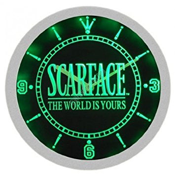 Scarface The World is Yours Movie Serie TV Neon Sign Bar Wall Clock - Green
