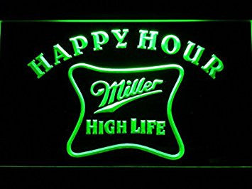 Miller High Life Happy Hour Neon Sign (Light. Bar. LED. Man Cave. 617-G)
