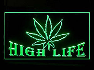 Marijuana Hemp Leaf High Life Led Light Sign