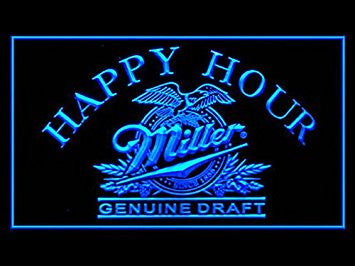 Miller Genuine Draft Happy Hour Neon Sign (Beer. Light. LED. Drink)