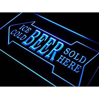 BuW Ice Cold Beer Sold Here Bar Pub Neon Light Sign. led flood lights princes...
