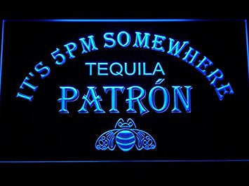 It's 5 pm Somewhere Patron Tequila Neon Sign (Light. LED. Man Cave. 476-B)
