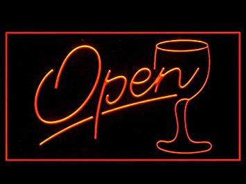 Script Open Glass Cocktails Wine Bar Led Light Sign