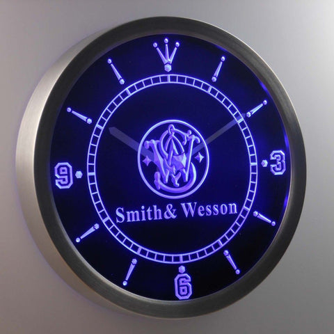 Smith & Wesson Gun Firearms 3D Neon Sign LED Wall Clock NC0187-B