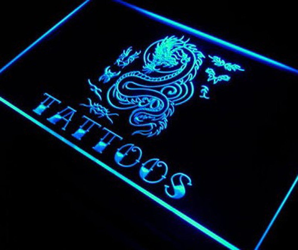 Everything's Perfecto LED Blue Tattoo Piercing Dragon Display Light Signs by ...