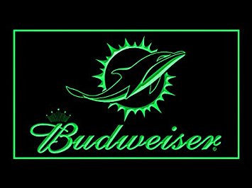 Budweiser Miami Dolphins Neon Sign (Football. LED. Light. NFL)