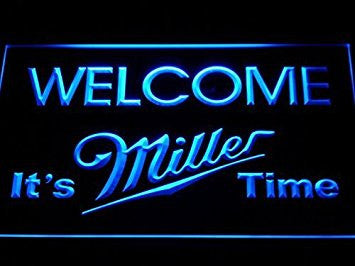 It's Miller Time Welcome Neon Sign (Light. Man Cave. A206-B. Bar. LED)