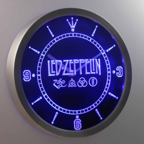 Led Zeppelin Rock n Roll Punk 3D Neon Sign LED Wall Clock NC0141-B