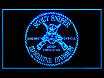 Scout Sniper Marine Divison Neon Sign (Death. From. Afar. LED. Light)
