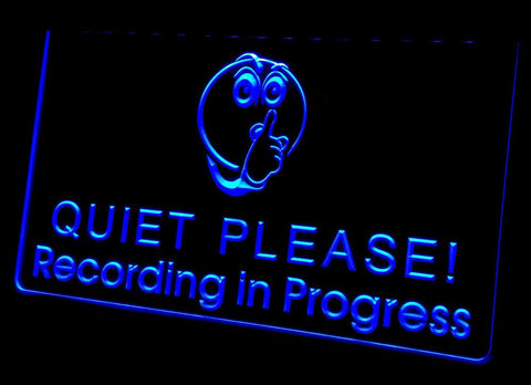Quiet Please! Recording in Progress Neon Sign (Light. LED)