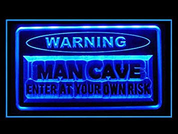 Man Cave Warning Enter At Own Risk LED Neon Sign - Light Sign